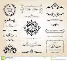 vintage vector decorative ornament borders and page dividers stock