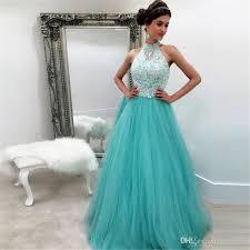 hunter a line tulle prom dresses 2017 halter neck lace appliques