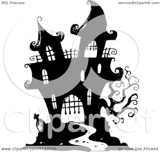 halloween black and white clipart clipart of a sketched black and white haunted halloween mansion