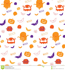 cute halloween background purple halloween ghost bat pumpkin seamless pattern backg stock image