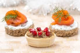 pate canapes tartlet with liver pate and pomegranate canape with salmon