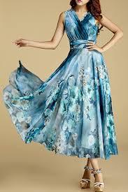chiffon dress borme water blue floral print crossed chiffon dress fashion
