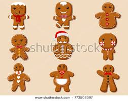 gingerbread man christmas cookie holiday sweet stock vector