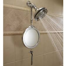 Bathroom Shower Mirror The Telescoping Fogless Shower Mirror Hammacher Schlemmer