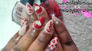 how to valentine u0027s day polish design on acrylic nails diy hard