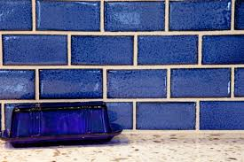 bold blue subway tile kitchen mercury mosaics