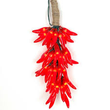 red chili pepper lights red chili pepper light ristras 16 cluster set novelty lights inc