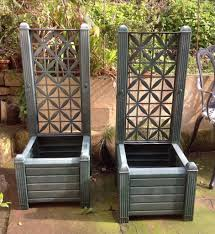 pair green large trellis planters for climbers pots climbing