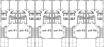 Multi Unit Apartment Floor Plans 6 Plex House Plans Narrow Row House Plans Six Plex S 727