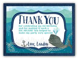 nautical thank you cards nautical whale 1st birthday thank you cards di 369ty harrison