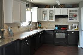 Kitchen Cabinet Black by Kitchen Cabinets White Top Black Bottom