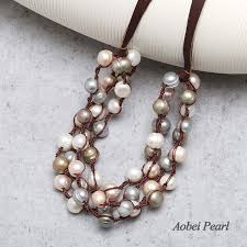 leather bib necklace images Aobei pearl handmade multi strands knotted necklace made of jpg