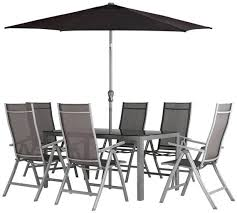 6 Seat Patio Table And Chairs Buy Collection Malibu 6 Seater Steel Patio Set Black At Argos Co