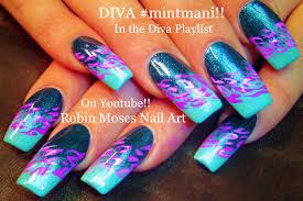 easy lavender lilac flower nail art design for beginners youtube