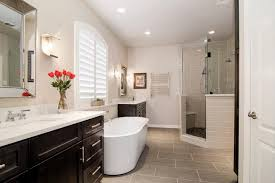 Bathroom White Porcelain Flooring Stainless by Modern Master Bathroom Cherry Cabnet Oval Porcelain Right Facing