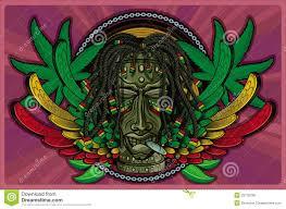 Colors Of Jamaican Flag Rasta Tiki Smoking Stock Illustration Illustration Of Ciguar