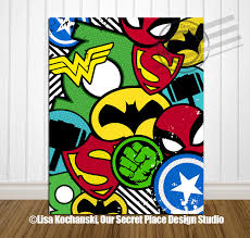 Comic Book Room Decor Print Superhero Collage Superhero Nursery Signs For Boys Room
