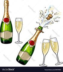 champagne toast cartoon closed open champagne bottle and glasses vector image