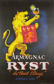 Lion Flag Armagnac Ryst 1945 France French Wine And Spirits Poster Features