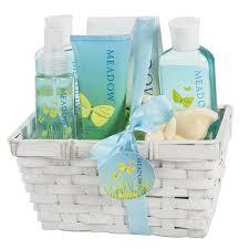 Bath And Shower Gift Sets Meadow Bath Gift Set In Wicker White Basket Shower Gel Bubble