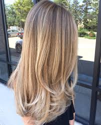 long bronde hair with golden blonde balayage and chunky short