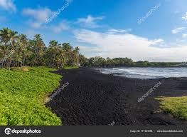 black sand beach big island punaluu black sand beach big island hawaii stock photo ademyan