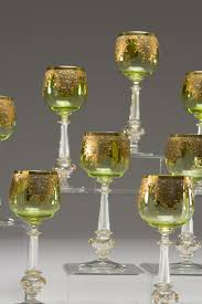 set of 12 venetian hand blown chartreuse wine goblets with raised