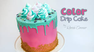 how to make a color drip cake renee conner youtube