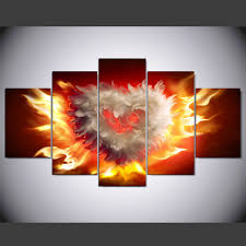 Aliexpress Home Decor Aliexpress Com Buy 5 Panel Hd Printed Painting Fire Love Canvas
