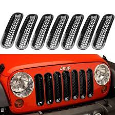 jeep wrangler grey 2015 2018 black front grill mesh grille insert kit for jeep wrangle