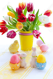 Easter Table Decorations by Easter Table Decorations With Tulips And Easter Eggs Stock Photo