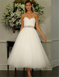 a frame wedding dress 2016 new sweetheart tea length tulle wedding dresses with