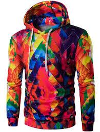 Hoodies Colorful 2xl Drawstring Zigzag Graphic Hoodie Gamiss