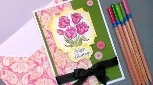 tulip happy birthday card with cheap watercolor pencils u0026 paper