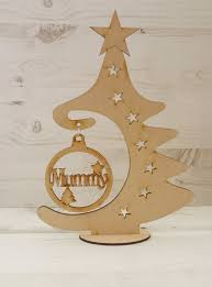 tree christmas bauble hanger free standing plaque art mdf
