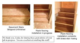 self adhesive vinyl floor planks on staircase installation