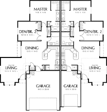 duplex floor plans for narrow lots plan 69391am duplex with slightly smaller second unit garage
