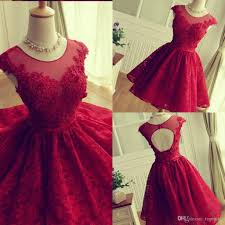 red lace short party dresses sheer neck cap sleeves tulle ruffles