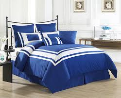 7 piece promise blue white comforter set within blue and white
