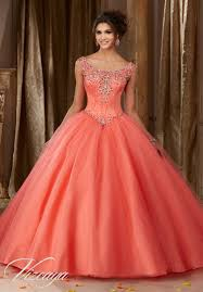 coral quince dress satin bodice on a tulle quinceañera dress style 89108 morilee