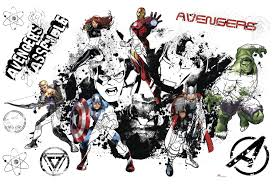 avengers assemble black white giant wall decal wall sticker shop