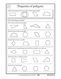 3rd grade 4th grade math worksheets properties of polygons same