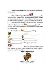 worksheet thanksgiving history cloze 2