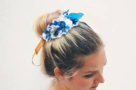 butterfly hair the butterfly blue bun belt floral wreath flower crown for a