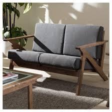 Loveseat Settee Cayla Mid Century Modern Fabric Living Room 2 Seater Loveseat