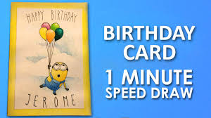 How To Draw Minion Birthday Card Step By Step Learning Video