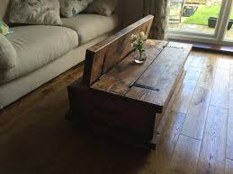 country style coffee table rustic chunky coffee table storage chest hand made solid oak new