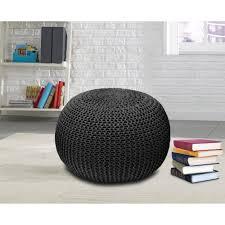 knit home decor living room charming off white crochet pouf star design original