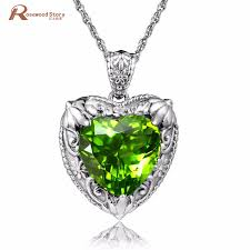 heart shaped emerald necklace images 925 sterling silver lovely vintage heart shaped olivine created jpg