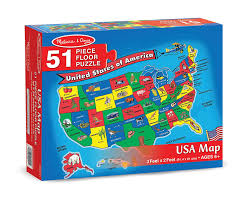 United States Of Anerica Map by Amazon Com Melissa U0026 Doug Usa Map Floor Puzzle 51 Pcs 2 X 3